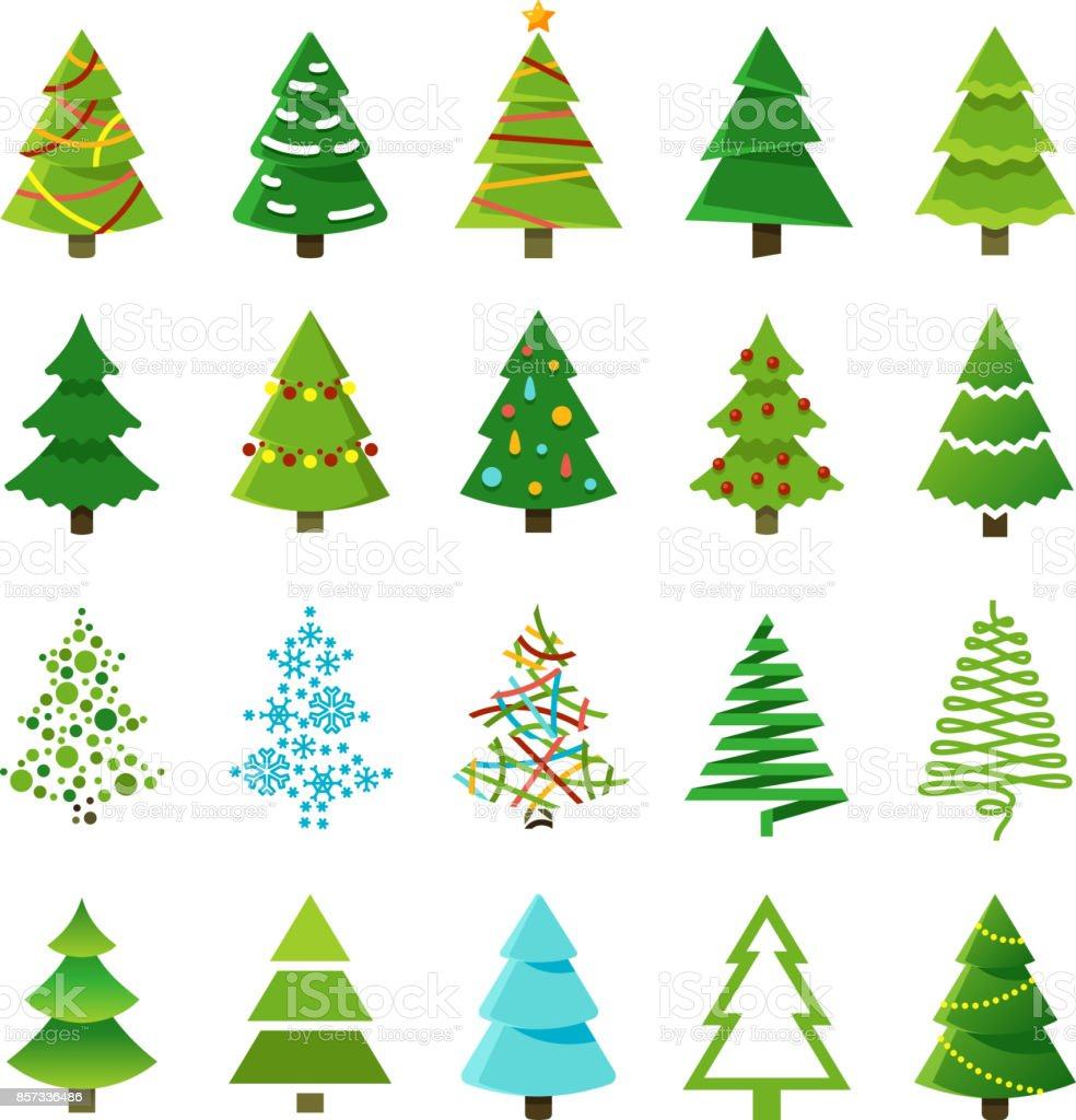 Cartoon Abstract Christmas Trees With Gifts And Balls Vector Set ...
