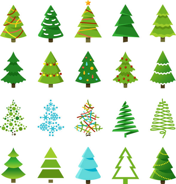 ilustrações de stock, clip art, desenhos animados e ícones de cartoon abstract christmas trees with gifts and balls vector set - christmas tree