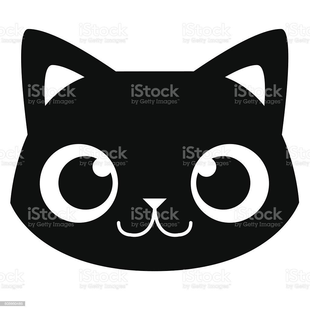 adorable t te de chat en dessin anim isol illustration. Black Bedroom Furniture Sets. Home Design Ideas
