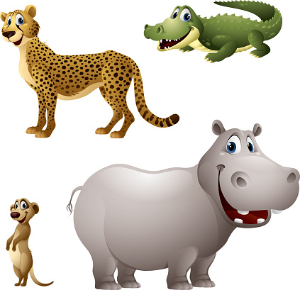 Cartoon africa animal set - cheetah, alligator, meerkat, hippopotamus