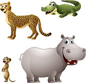 Cartoon africa animal set - cheetah, alligator, meerkat, hippopotamus