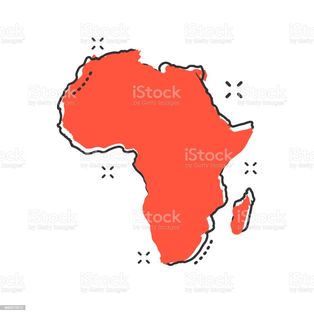 Map Of Africa Geography.Cartoon Africa Map Icon In Comic Style Africa Illustration Pictogram
