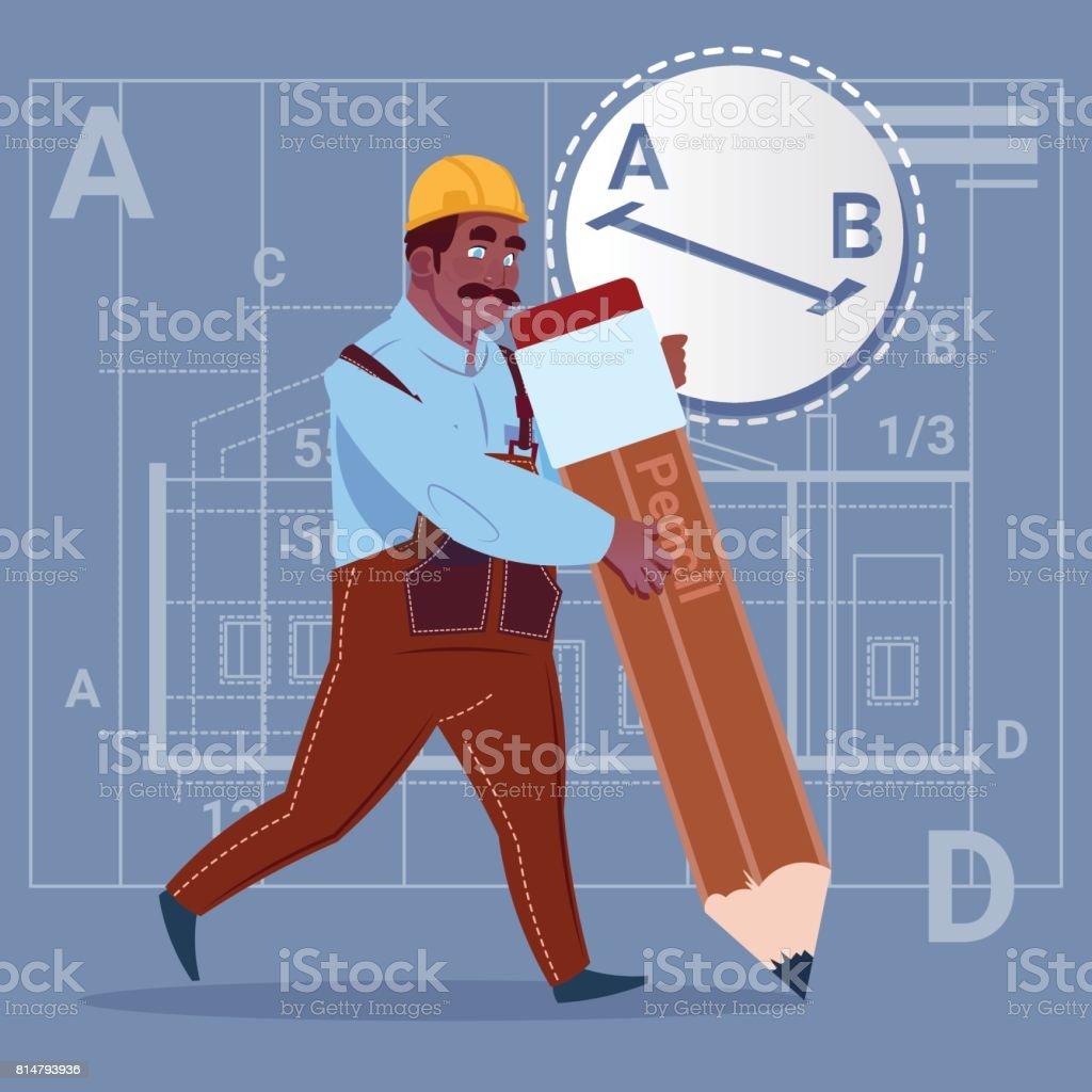 Cartoon african american builder hold big pencil creating new cartoon african american builder hold big pencil creating new blueprint architect wearing uniform and helmet construction malvernweather Gallery