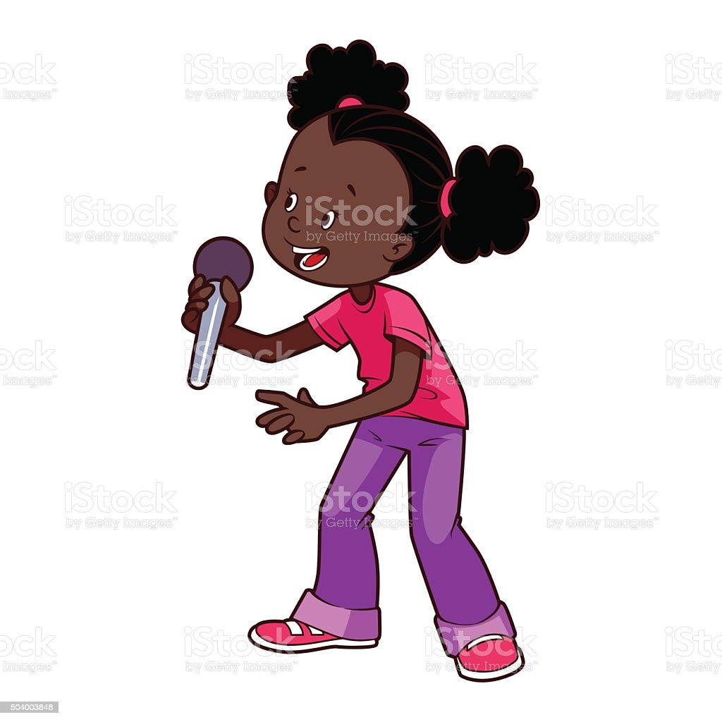 Cartoon African American girl singing with a microphone vector art illustration