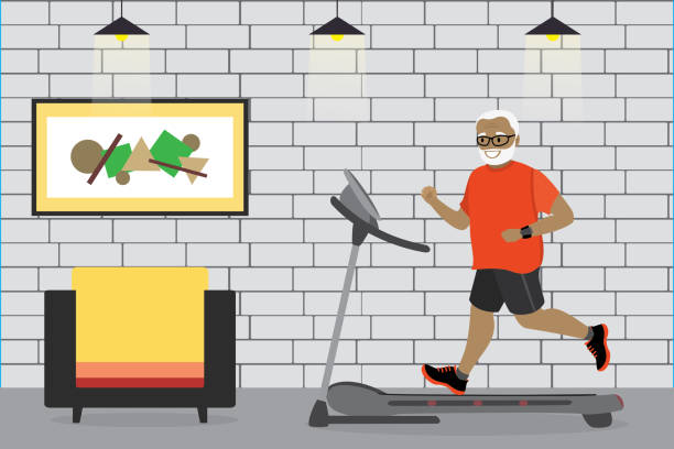 cartoon african american grandfather running on a treadmill - old man in black stock illustrations, clip art, cartoons, & icons
