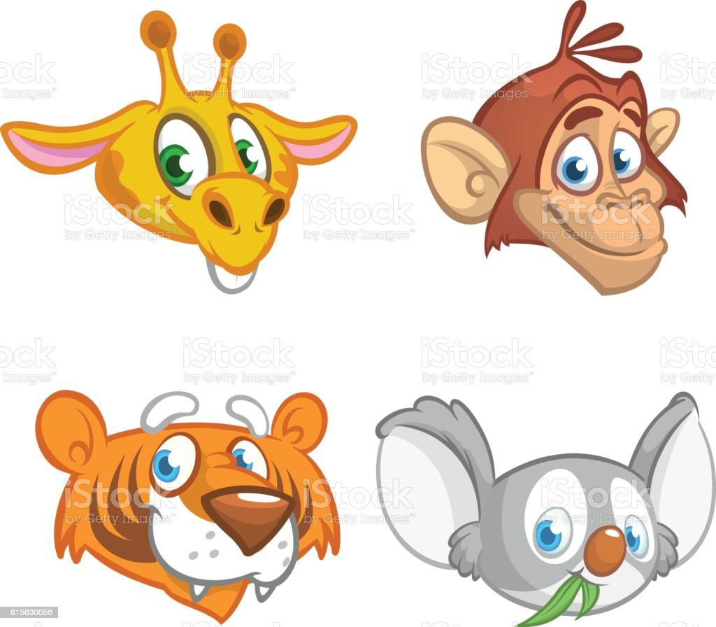 Cartoon african animal head icons collection. Vector set of wild animals including giraffe, chimpanzee monkey, tiger andkoala bear. Illustrations isolated on white.