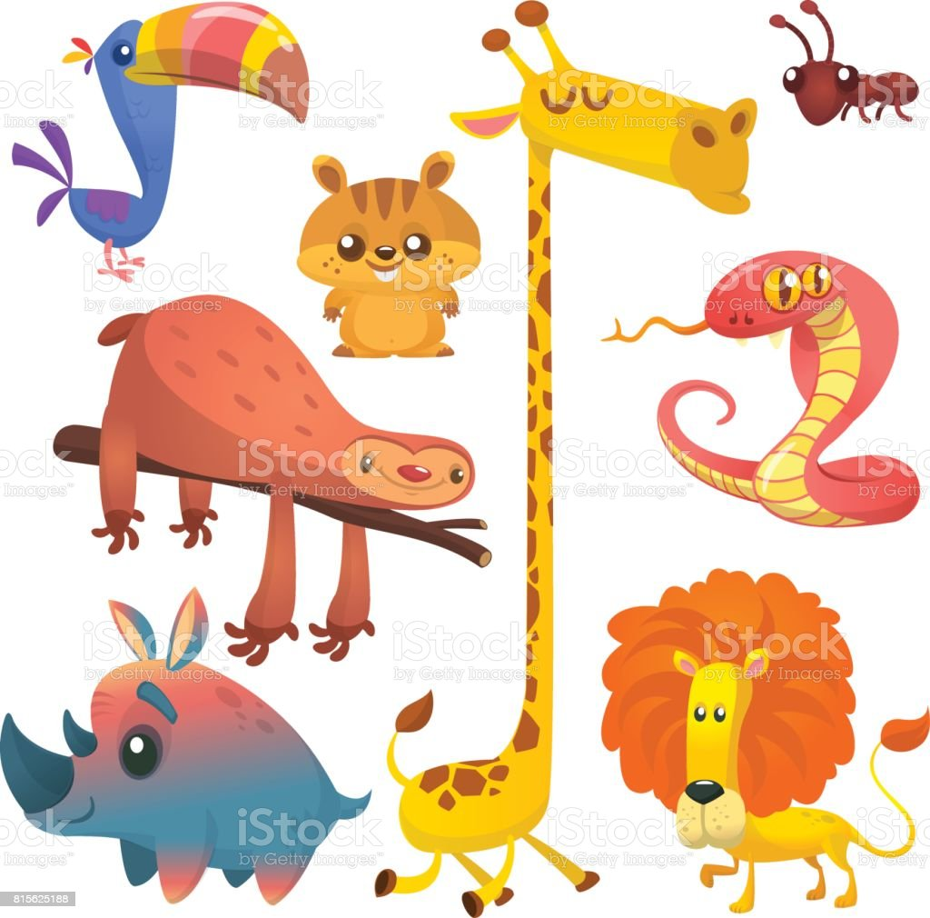 Cartoon African animals set. Big collection of cartoon jungle animals. Vector illustration. Giraffe, chipmunk, toucan, ant, sloth, cobra snake and rhino