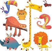 Cartoon African animals set. Big collection of cartoon jungle animals. Vector illustration. Giraffe, chipmunk, toucan, ant, sloth, cobra snake and rhino