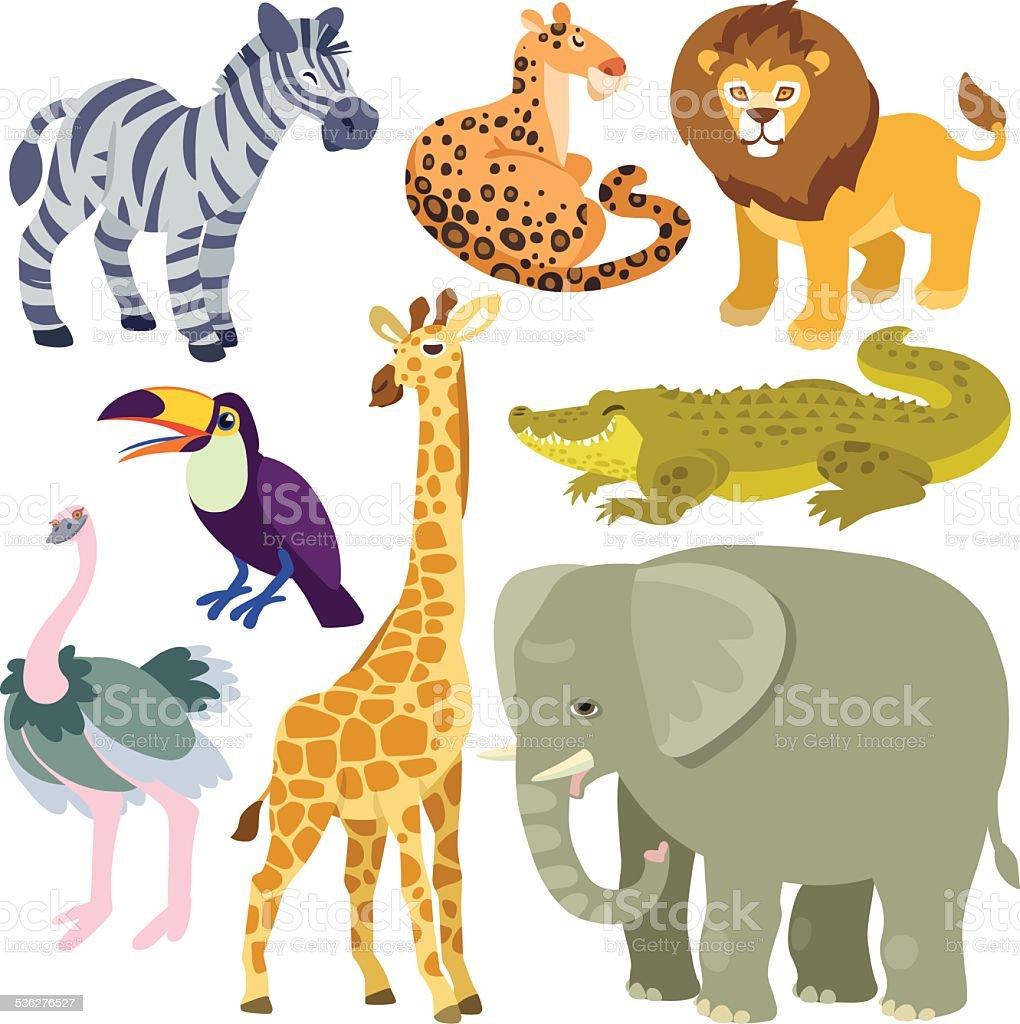 cartoon african animals set vector art illustration