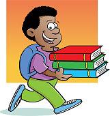 Cartoon African boy carrying books.