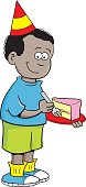 Cartoon African boy wearing a party hat and holding a piece of cake.