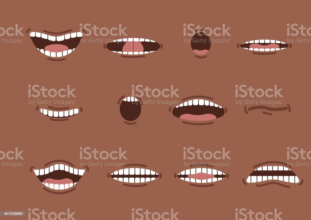 Cartoon african mouths set. Smile. Funny Cartoon mouth set with different expressions. Smile with teeth, sticking out tongue, surprised. Cartoon talking mouth and lips expressions vector animation vector art illustration