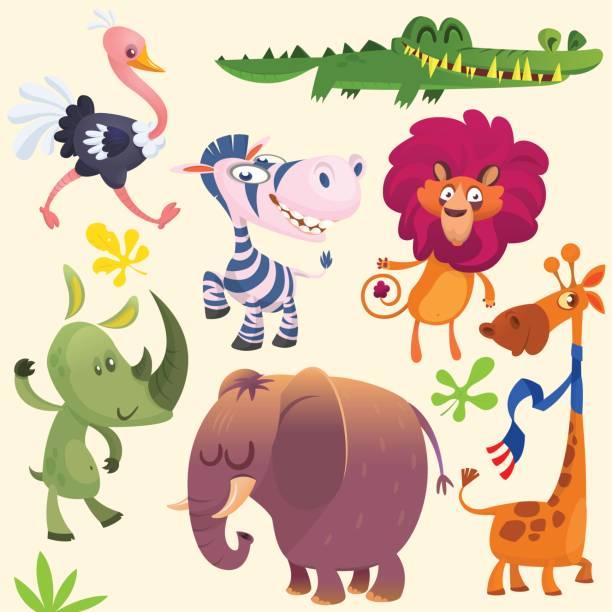 cartoon afrikanischen savanne tier gesetzt. wilde tiere icon-sammlungen. satz von cartoon dschungel tiere flache vektor-illustration. krokodil alligator, giraffen, nashörner, zebra, strauß, löwen und elefanten - giraffenhumor stock-grafiken, -clipart, -cartoons und -symbole