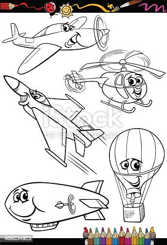 Ilustración de Conjunto De Dibujos Animados Aviones Para Libro Para ...