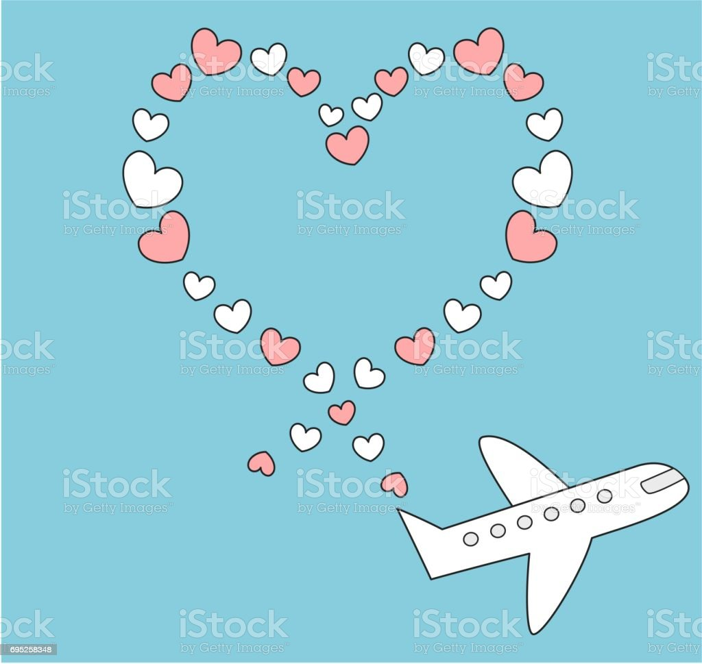 Mavi Gokyuzunde Ucan Ucak Karikatur Ve Kalp Sekli Romantik Sevimli Vektor Cizim Yapmak Stok Vektor Sanati Animasyon Karakter Nin Daha Fazla Gorseli Istock