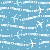 Cartoon airplane with flags seamless pattern, background, vector texture can be used for wallpaper, pattern fills, web page, background, surface.