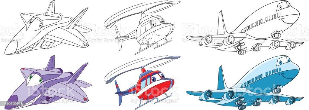 Ilustración de Juego De Aviones De Dibujos Animados y más banco de ...