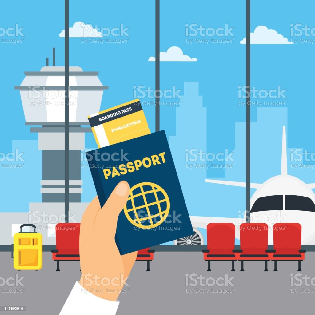 Cartoon flygplats väntar på insidan av Terminal Hall och handen håller pass och boardingkort. Vektor vektorkonstillustration
