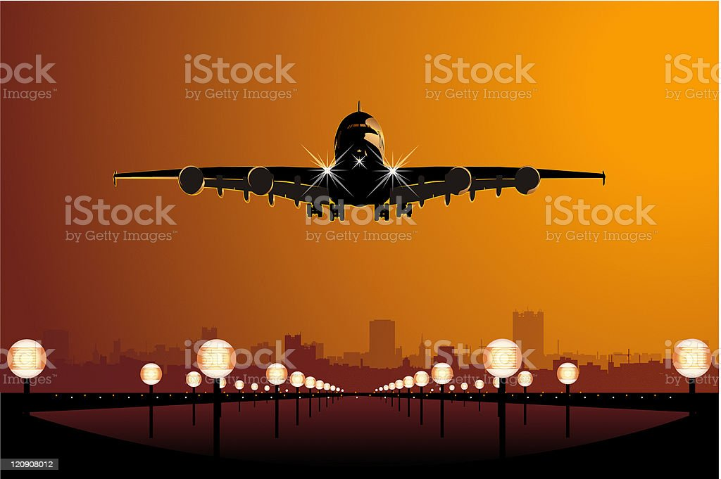 A cartoon airstrip with a large jet plane landing at sunset  vector art illustration