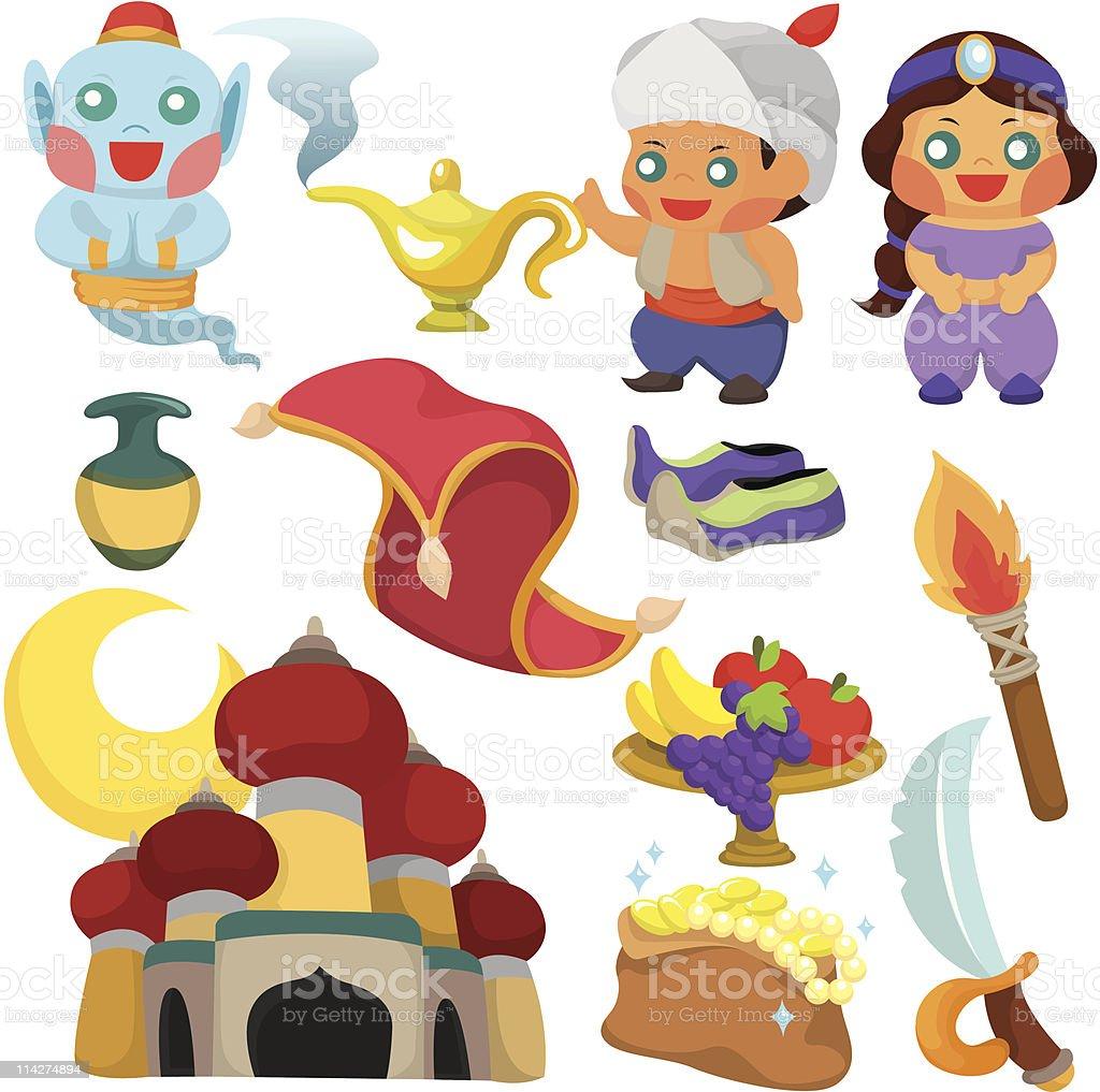 cartoon Aladdin's lamp story icon set vector art illustration