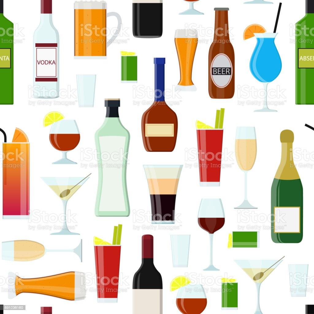 Cartoon Alkoholische Getränke Trinken Musterdesign Hintergrund ...