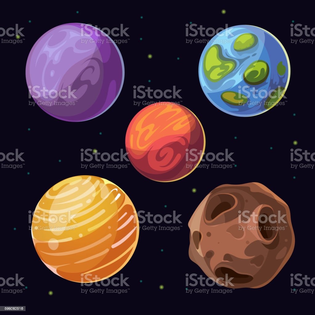 Cartoon alien planets, moons asteroid on space background vector art illustration