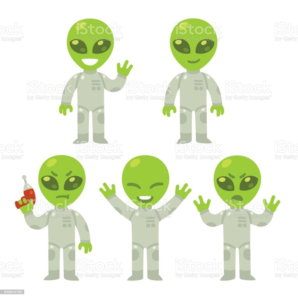 Cartoon alien set vector art illustration