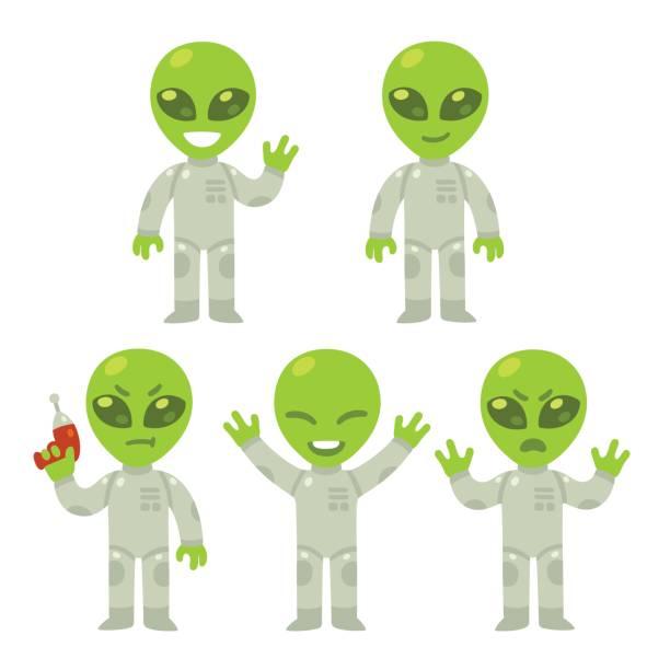stockillustraties, clipart, cartoons en iconen met cartoon buitenaardse set - buitenaards wezen