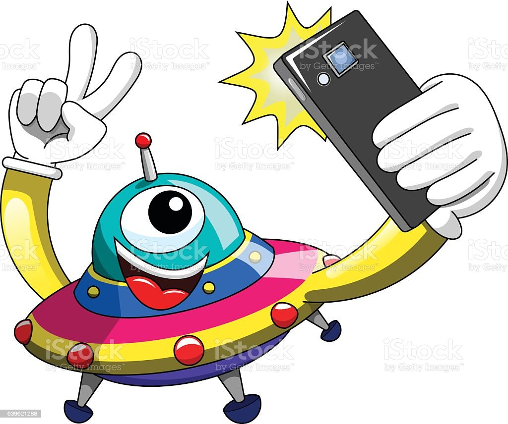 cartoon alien ufo spaceship selfie smartphone isolated stock
