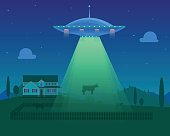 Cartoon Aliens Spaceship or UFO Takes Cow. Vector