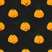 Cartoon alive pumpkins seamless pattern. Pumpkin from different sides background, For fall wallpaper, fabric, greeting cards, invitation on black grunge background