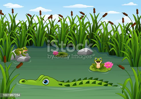 Vector illustration of Cartoon alligator and Frogs in the pond