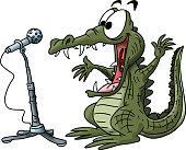 Cartoon alligator making a speech on a stage vector illustration