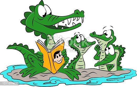 istock Cartoon alligator mother reading stories to her children vector illustration 1271314650