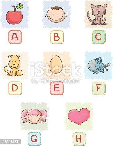Cartoon alphabet A to H collection