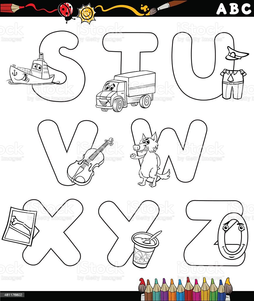 Cartoon Alphabet Coloring Page Stock Illustration Download Image Now Istock