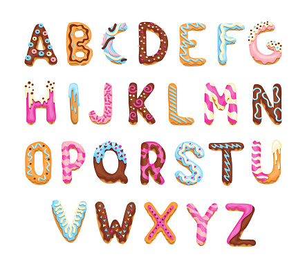 Cartoon alphabet. Cookies font. Vector letters baking in colored glaze. Creative gingerbread typography design. Childhood sweet donuts. Letters collection.