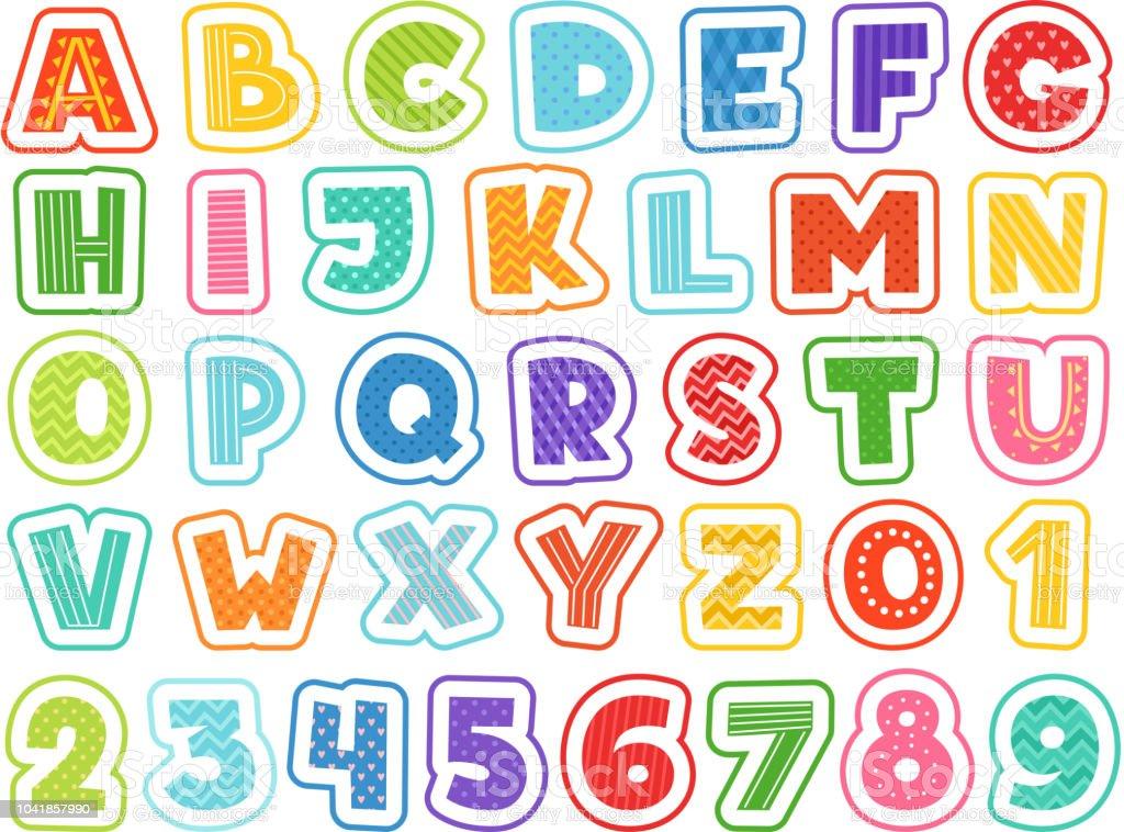 Vetores De Alfabeto Dos Desenhos Animados Letras Coloridas Bonita