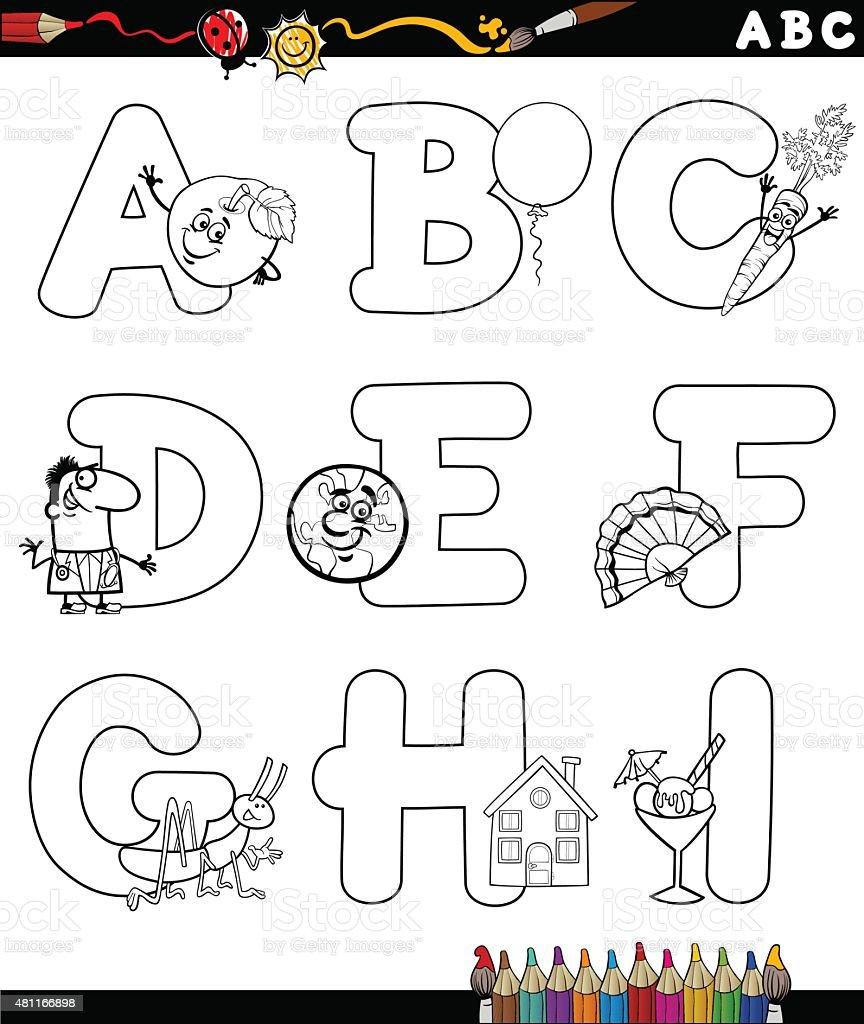 Alfabeto De Dibujos Animados De Libro Para Colorear - Arte vectorial ...