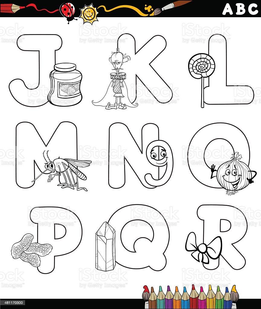 Kreskówka Alfabet Dla Kolorowanka Stockowe Grafiki Wektorowe I