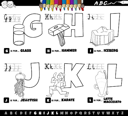 cartoon alphabet letters set from G to L coloring book page