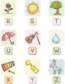 Cartoon alphabet collection, with colour