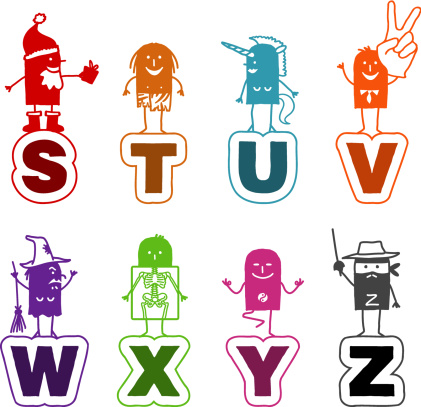 cartoon alphabet - S as Santa to Z for Zorro