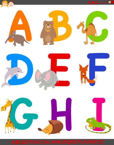 illustrations, cliparts, dessins animés et icônes de alphabet de dessin animé avec des animaux mignons - enseignant(e) en maternelle