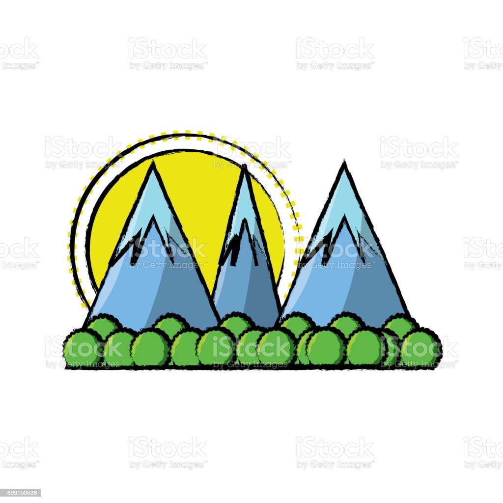 ilustração de desenhos animados paisagem alpes e mais banco de