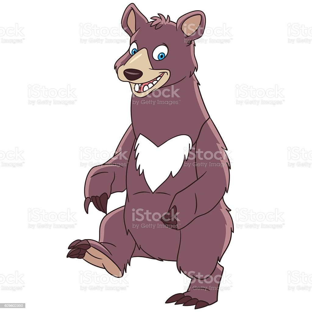 Cartoon american black bear vector art illustration
