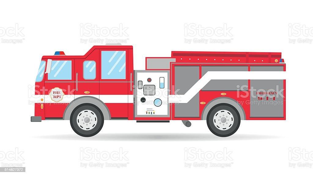 Cartoon American Firetruck car Emergency vehicle vector art illustration