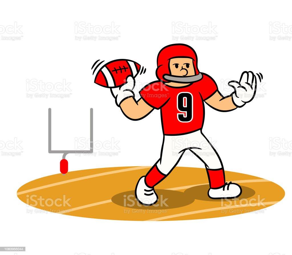 Ilustracion De Dibujos Animados Del Futbol Americano Jugador Tiro Constante En El Campo Y Mas Vectores Libres De Derechos De Accesorio De Cabeza