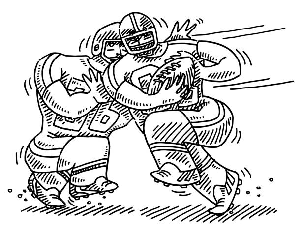 Cartoon American Football Players Drawing Hand-drawn vector drawing of two Cartoon American Football Players. Black-and-White sketch on a transparent background (.eps-file). Included files are EPS (v10) and Hi-Res JPG. running stock illustrations