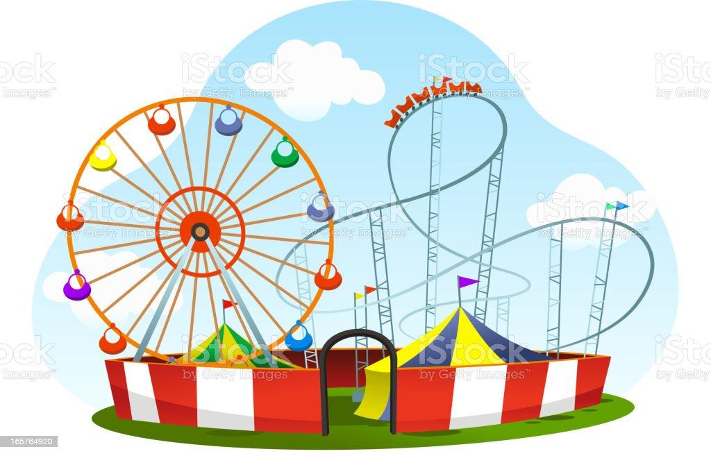 cartoon amusement park roller coaster world wheel vector art illustration